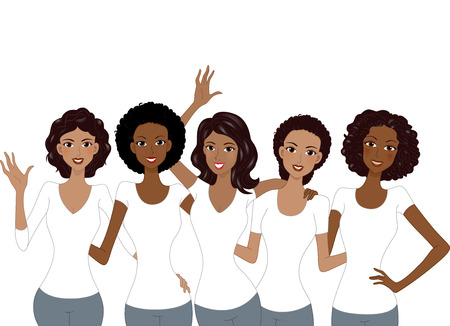 Illustration of African American Girls Wearing White Shirt