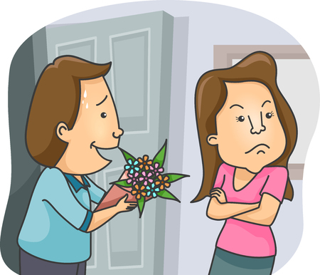 irked: Illustration of a Man Offering a Bouquet of Flowers as an Apology