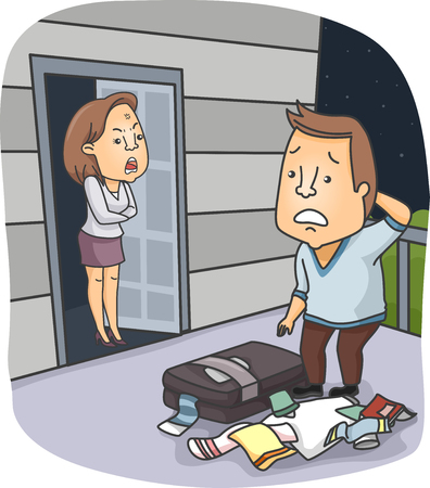 mad: Illustration of an Angry Wife Kicking Her Husband Out of the House Stock Photo