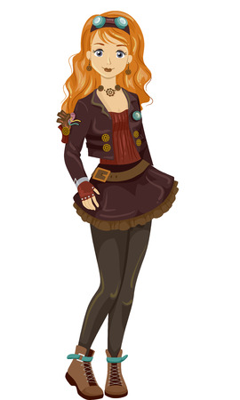 a teen girl: Illustration of a Teen Girl Wearing Fantasy Steampunk Garments