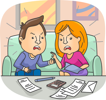 money matters: Illustration of a Couple Having a Conflict with their Financial Issues