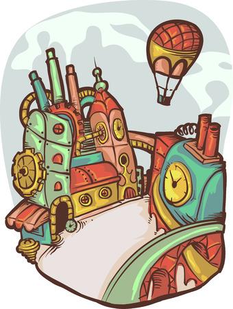 futuristic city: Illustration of a Futuristic Steampunk Doodle City