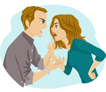 argument: Illustration of a Couple Having an Argument Stock Photo