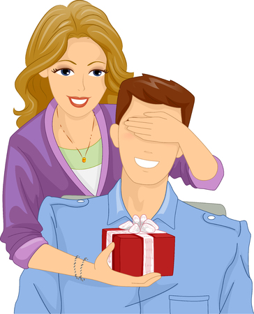 boyfriend: Illustration of a Woman Surprising Her Boyfriend with a Gift Stock Photo