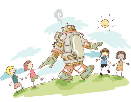 kids having fun: Illustration of Kids Having Fun Walking with their Steampunk Robot
