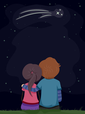 date: Illustration of a Stickman Couple Gazing at the Shooting Star Stock Photo