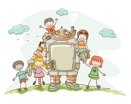 female animal: Illustration of a Set of Kids Playing with their Steampunk Robot Friend
