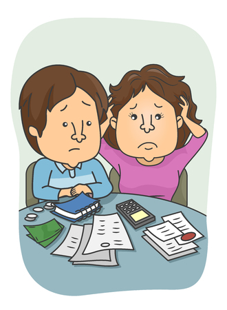 money matters: Illustration of a Couple Encountering Financial Problem