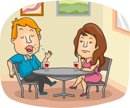 dating: Illustration of a Woman Getting Bored Over Her Dates Endless Talking