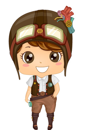 fashion art: Illustration of a Kid Boy Wearing a Steampunk Outfit