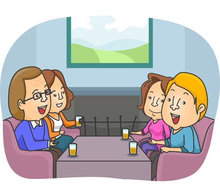 family discussion: Illustration of a Couple Meeting Up with Their Parents