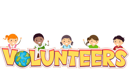 mankind: Illustration of Stickman Kids Proud to be Volunteers