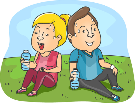 perspiration: Illustration of a Couple Taking a Rest from their Workout Stock Photo