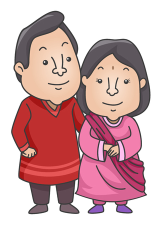 kurta: Illustration of an Indian Couple Wearing a Traditional Kurta and Sareeh Outfit