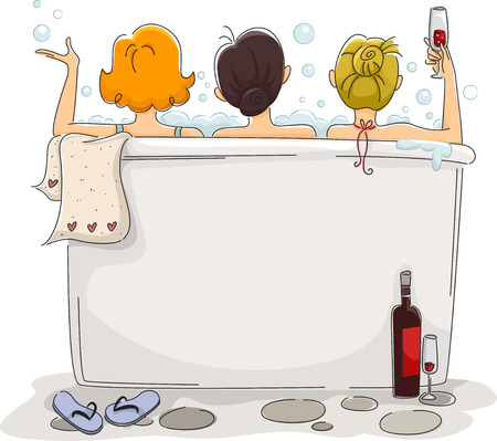 Illustration of Girls Enjoying their Outdoor Bath Banco de Imagens