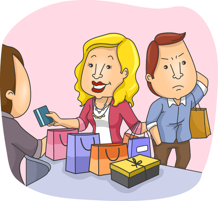 irked: Illustration of an Annoyed Husband Waiting for His Wife as She Shops