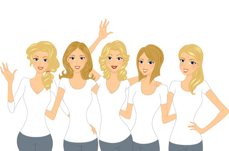 Illustration of a Set of Lovely Blonde Girls Wearing White Shirt