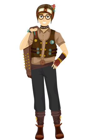 cool guy: Illustration of a Teen Boy Wearing a Cool Steampunk Outfit