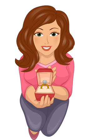 female animal: Illustration of a Girl Kneeling While Presenting a Ring Stock Photo