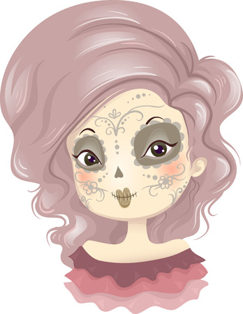 make my day: Illustration of a Girl Wearing a Creative Day of the Dead Make Up Stock Photo