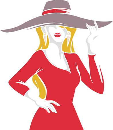 big hat: Stencil Illustration of a Fashionable Girl Wearing a Big Hat