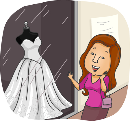 admire: Illustration of an Excited Bride Window Shopping for Dresses Stock Photo