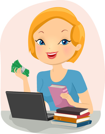 selling: Illustration of a Girl Selling Used Books Online