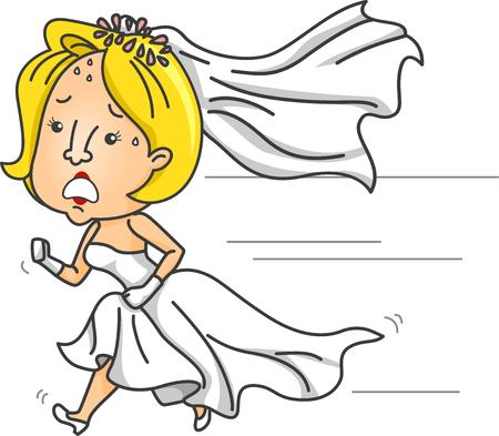 結婚式のガウンを着用しながら実行している気になる花嫁のイラスト