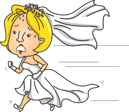anxious: Illustration of an Anxious Bride Running While Wearing a Wedding Gown