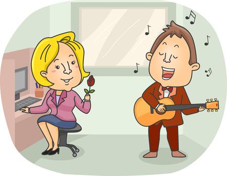 serenading: Illustration of a Singing Telegram Employee Serenading an Office Girl
