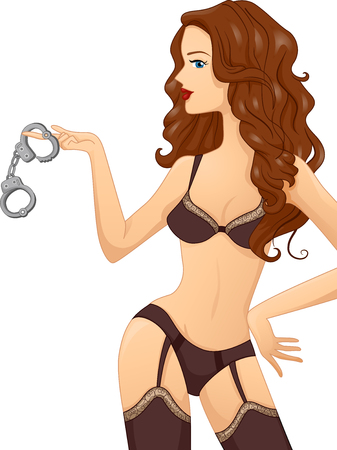 Illustration of a Sexy Girl in Lingerie Playing with Hand Cuffs Stock Photo