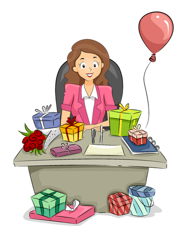 courtship: Illustration of an Office Girl with Plenty of Gifts on Her Table