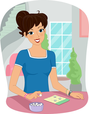 downtime: Illustration of a Girl Playing a Bingo Game at Home