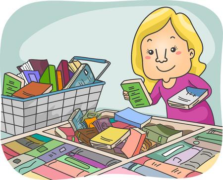 choosing: Illustration of a Girl Choosing Books at a Book Fair