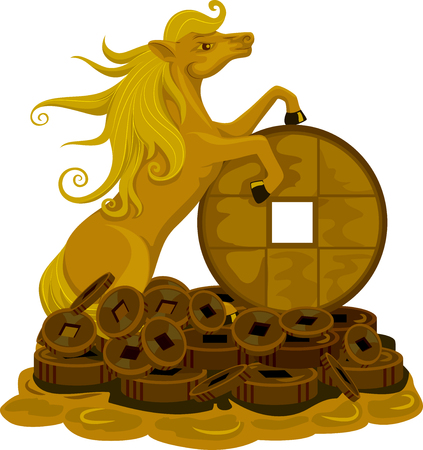 lucky charm: Illustration of a Golden Horse Standing on Top of a Pile of Coins for Luck
