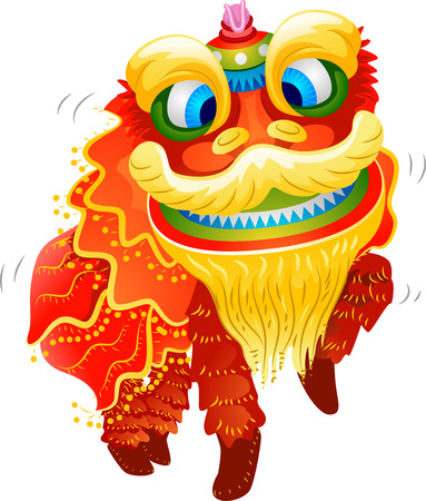 lion dance: Illustration of a Lion Dance Costume for Chinese New Year