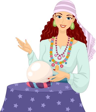 adivino: Ilustración de una niña en un traje de gitana Al tocar una bola de cristal