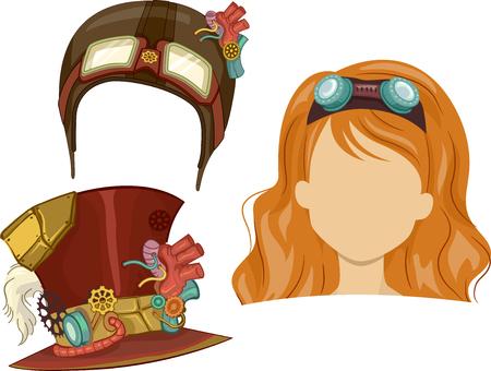 head wear: Fashion Illustration of Steampunk Themed Head Wear