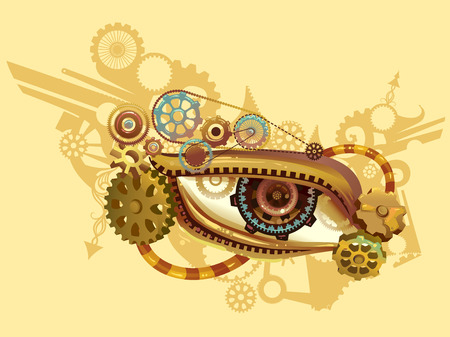 apocalyptic: Steampunk Illustration of an Eye Elaborately Designed with Cogs and Gears