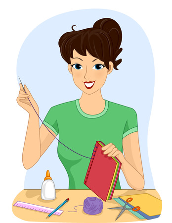 female animal: Illustration of a Girl Making a Handmade Book Stock Photo