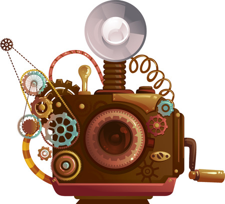 apocalyptic: Steampunk Illustration of a Vintage Camera Designed with Cogs and Gears Stock Photo
