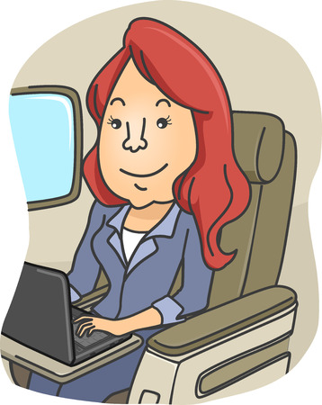 girl laptop: Illustration of a Girl Using Her Laptop While on a Plane