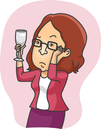 geeky: Illustration of a Girl Inspecting a Glass of Wine