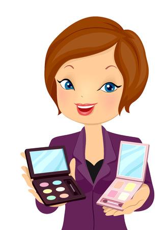 productos de belleza: Ilustración de un consultor de belleza recomendar productos cosméticos