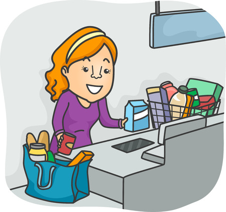 out: Illustration of a Girl Using the Self Check Out Section of a Grocery Stock Photo