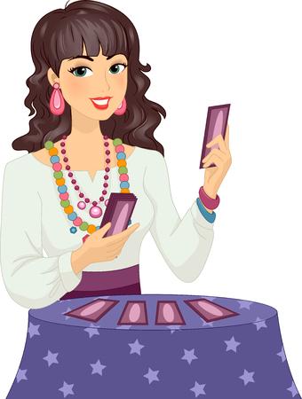 psiquico: Ilustración de una niña en el traje de gitana Lectura de una tarjeta de Tarot