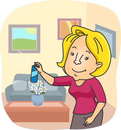 Illustration of a Woman Spraying Air Freshener All Over Her Home Stock Photo