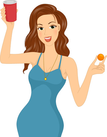 Illustration of a Girl Holding a Cup of a Beer and a Ping Pong Ball