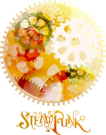 elaborate: Colorful Illustration of an Elaborate Steampunk Design Stock Photo