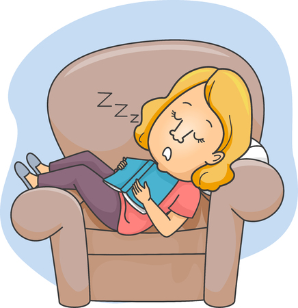 Illustration of a Girl Who Fell Asleep on a Chair After Reading a Book Banco de Imagens